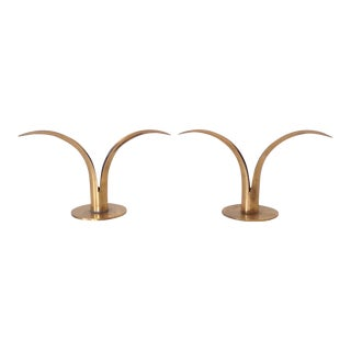 Ystaad Sweden Lily Brass Candleholders - A Pair