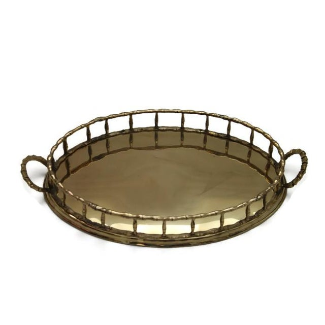 Image of Brass Oval Faux Bamboo Tray