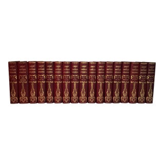 1909 Antique Red Leather Library of Southern Literature Books - Set of 17