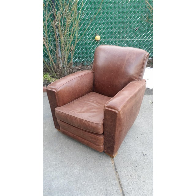 Image of Art Deco Style Leather Club Chair