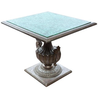 French Malachite Table W/Silver Gilt Carved Base