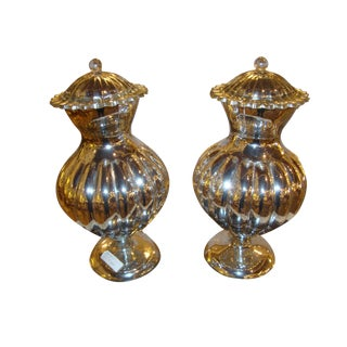 Mercury Glass Lidded Ginger Jars- A Pair