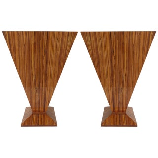 Matched Grain Zebra-Wood Tables - A Pair
