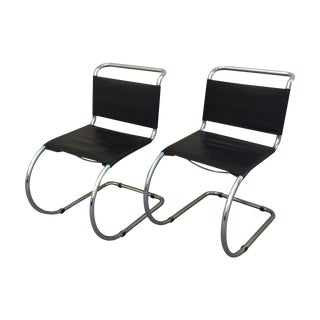 Chrome Mies Van Der Rohe Style Chairs - A Pair