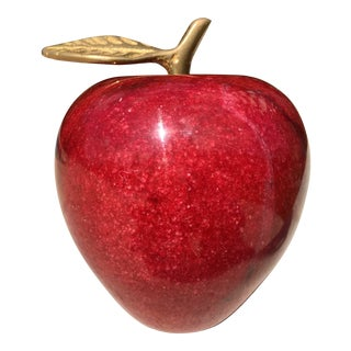 Red Marble & Brass Leaf Apple Paper Weight