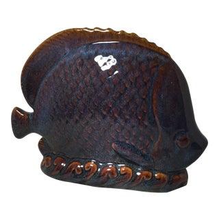Ceramic Blue & Brown Glazed Fish
