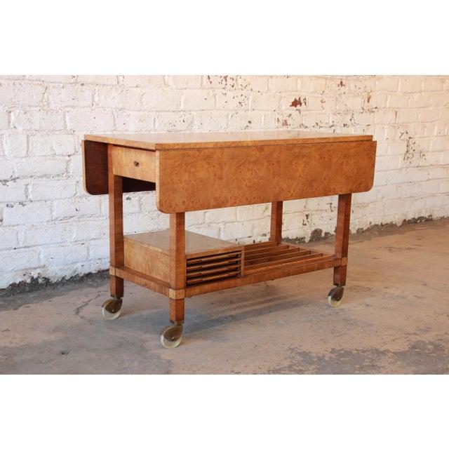 Bernhard Rohne for Mastercraft Burled Olive Wood Bar Cart - Image 3 of 11