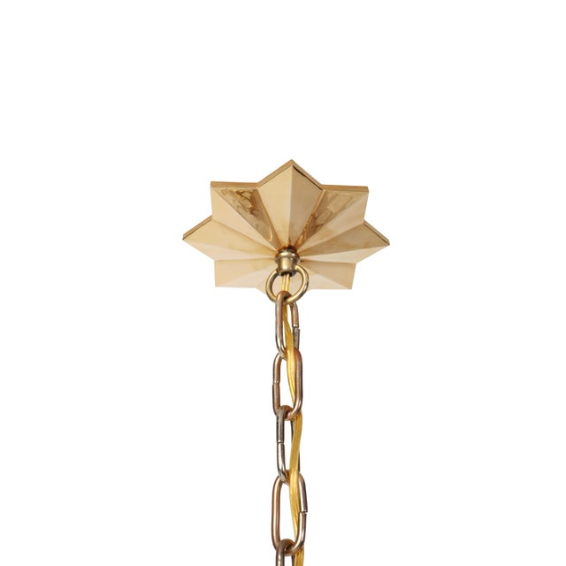 Image of Quartz Star Pendant Light with Antique Brass Frame