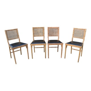 Leg-O-Matic Bamboo With Cane Back Chairs - Set of 4
