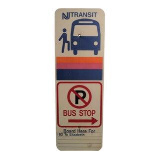 Vintage Metal NJ Transit Bus Stop Sign