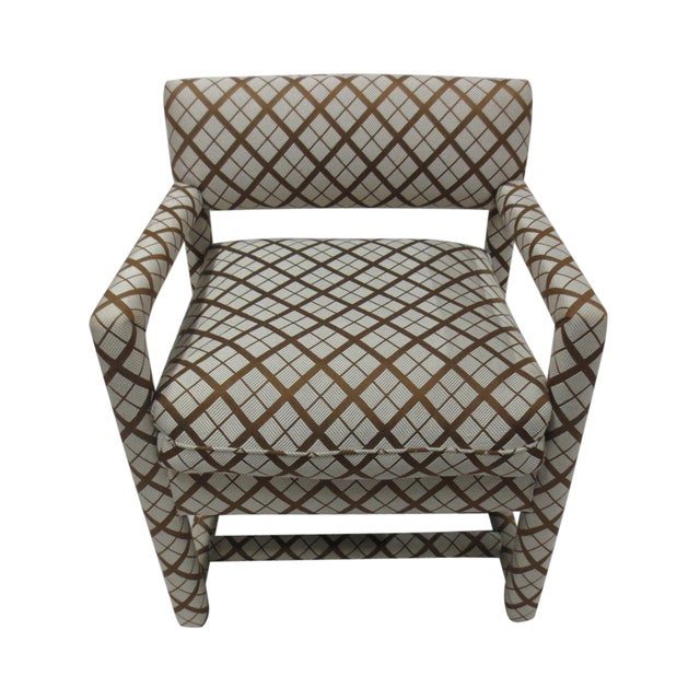 Mid-Century Brown & White Armchairs - A Pair - Image 2 of 9