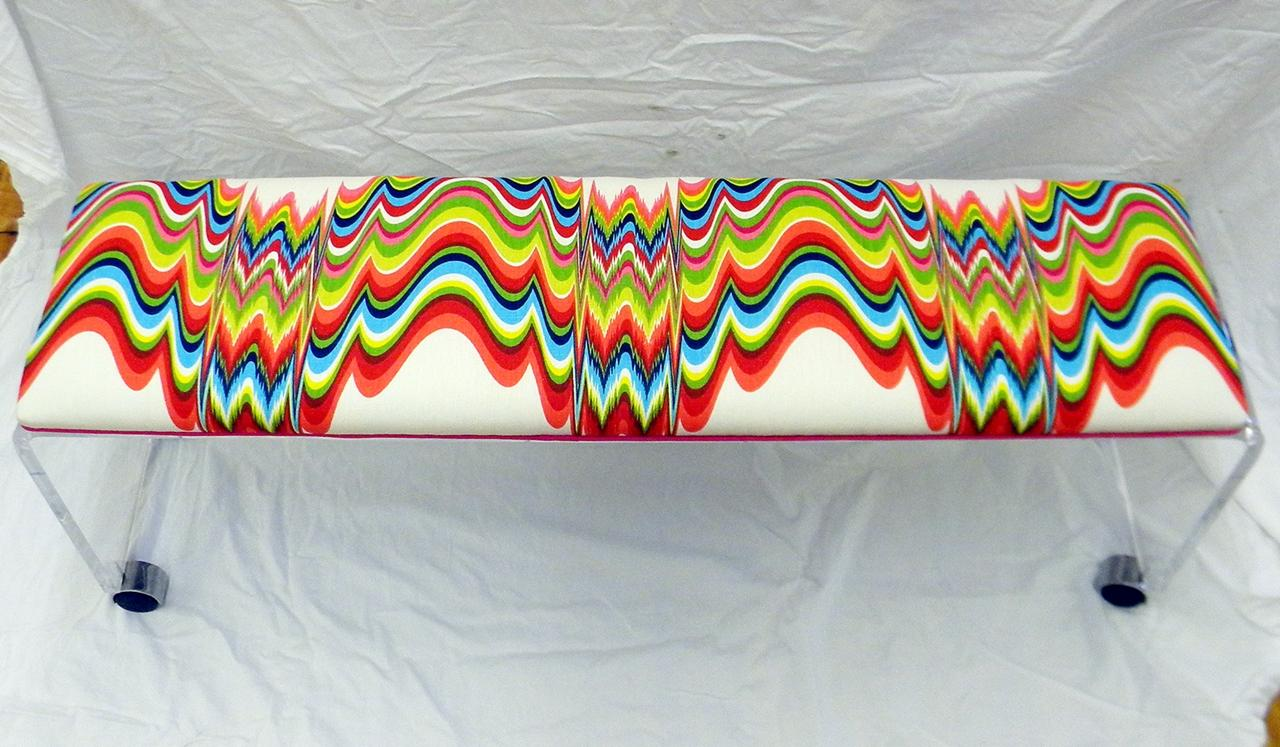 Lucite Waterfall Bench In Jonathan Adler Fabric Chairish