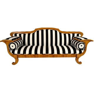 Striped Mid-19th Century Biedermeier-Style Sofa