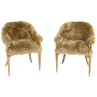Vintage Barrel Back Chairs in Tan Sheepskin - A Pair