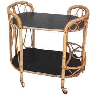 Vintage French Bamboo Bar Cart
