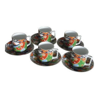 Japanese Demitasse Saucers and Cups - Set of 5