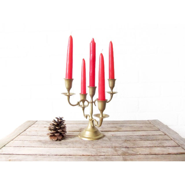 Image of Vintage Tall Brass Candleabra