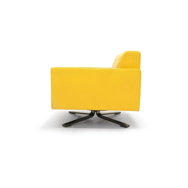 Poltrona Frau Yellow Leather Memory Swivel Lounge Chair - Image 4 of 11