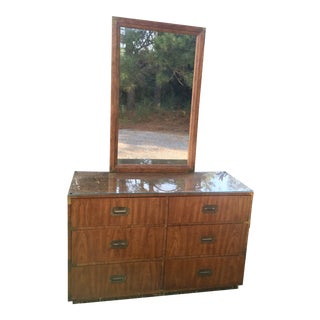 Vintage Dixie Campaign Chest With Mirror