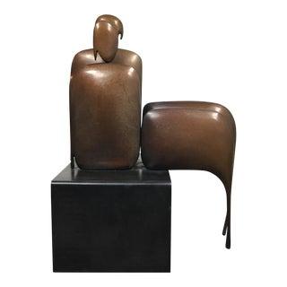 """Robert Holmes """"I Am Seated Pair"""" Bronze Sculpture"""