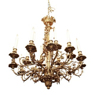 1860 Louis XV Style Ormolu 16 Arm Bronze Chandelier