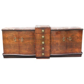 French Art Deco Grand Scale Palisander Sideboard / Buffet With Marble Top Circa 1940s