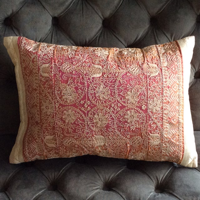 Embroidered Handwoven Copper Silk Pillow - Image 2 of 5