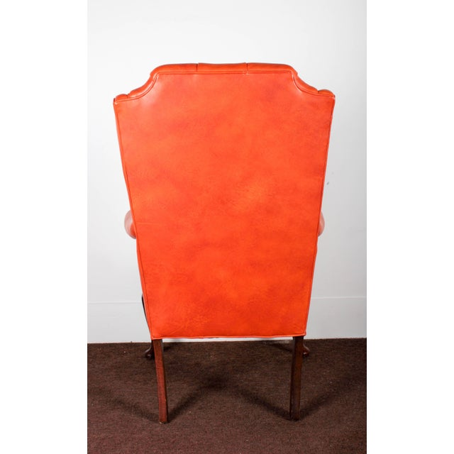 Orange Tufted Leather Queen Anne Mahogany Armchair - Image 5 of 11