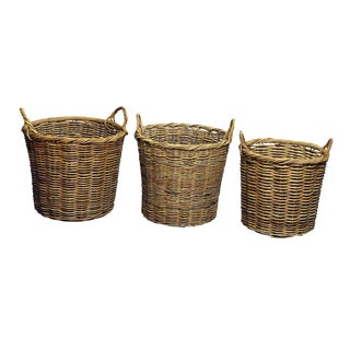 Straw Flower Baskets With Handles - Set of 9