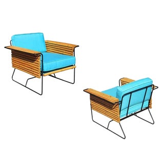 Restored Pair of Wroughtan Iron and Rattan Ski Club Chairs by Shirley Ritts