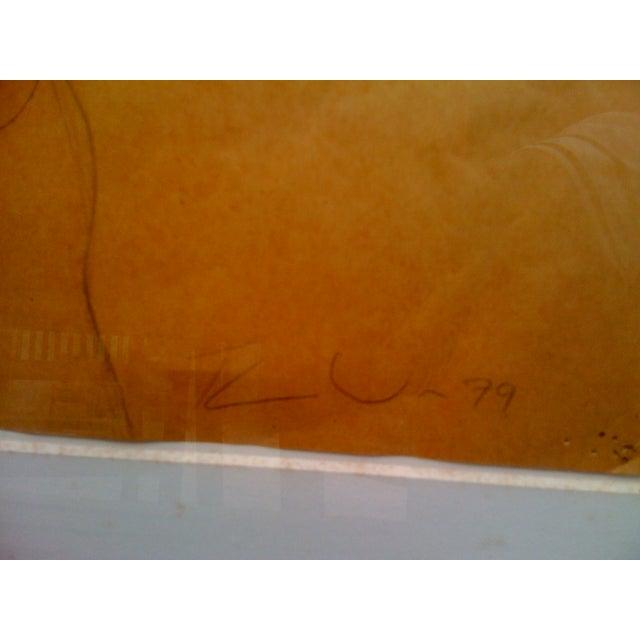 "Tom Wudl ""Stretching Woman"" Original Drawing - Image 3 of 5"