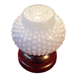White Hobnail Milk Glass Ceiling Fixture & Globe