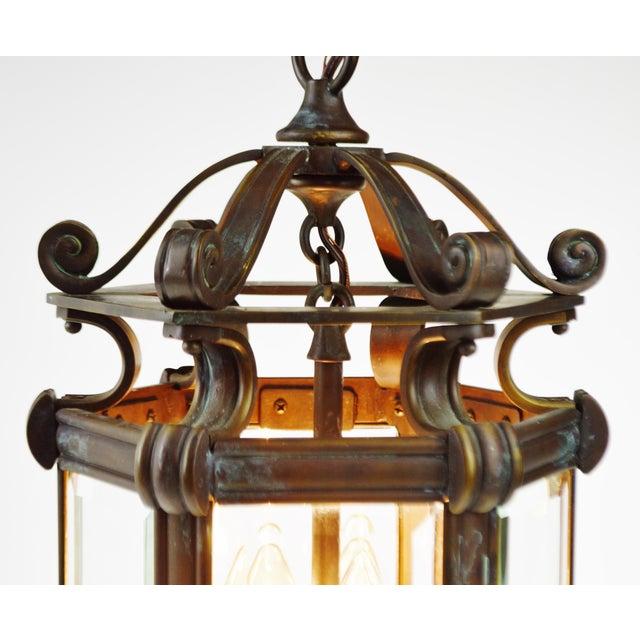 Bronze & Beveled Glass 3 Light Lantern Light Fixture - Image 6 of 11