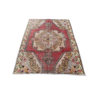 Turkish Anatolian Vintage Faded Oushak Rug - 4′7″ × 6′3″