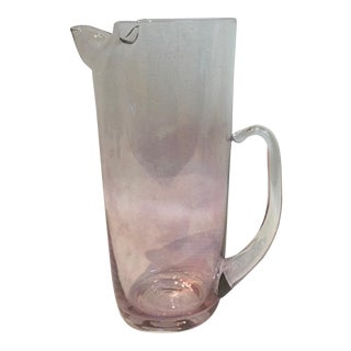 Mid-Century Hand-Blown Light Cranberry Glass Martini Pitcher