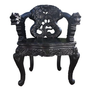 Asian Antique Carved Wood Dragon Armchair