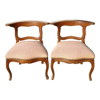 French Country Red Plaid Accent Chairs - A Pair