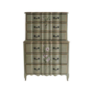 French Provincial Hand Painted Tall Chest