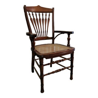 Hand Caned Walnut Arm Chair