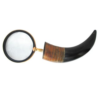 Buffalo Horn Large Brass Magnifying Glass