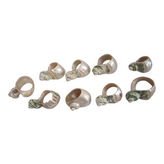 Carved Shell Napkin Rings - Set of 9