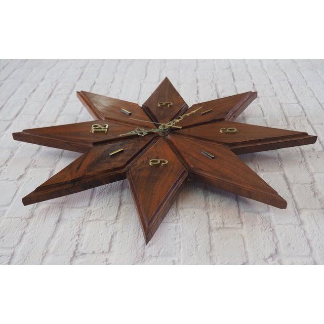 Image of Mid-Century Modern Wooden Starburst Clock
