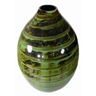 Large Ceramic Vase - Green Glaze