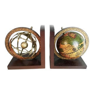 Vintage Italian Old World Globe & Armillary Bookends- A Pair