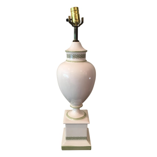 White & Light Green Greek Key Urn Lamp - Image 1 of 8