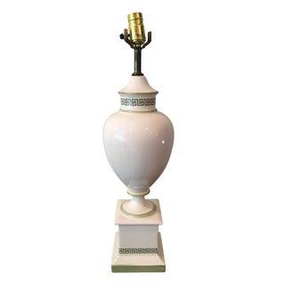 White & Light Green Greek Key Urn Lamp