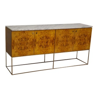 Milo Baughman for Thayer Coggin Burl White Marble Top Credenza