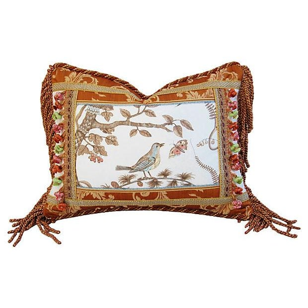 Custom Brunschwig & Fils Bird & Thistle Pillow - Image 1 of 6