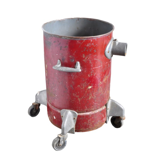 Image of Vintage Red Steel Can on Casters