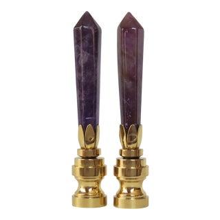 Violet Agate Obelisk Gemstone Finials - A Pair